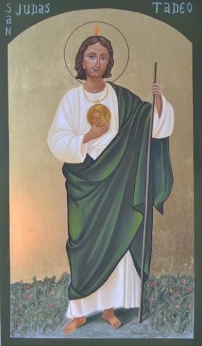 Judas Tadeo (SOLGT) 25 x 35 cm. ægtempera på PDF.