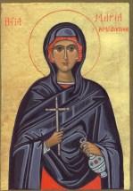 Maria Magdalena, 13 x 18 cm. Baggrund 23,75 karat bladguld (SOLGT)