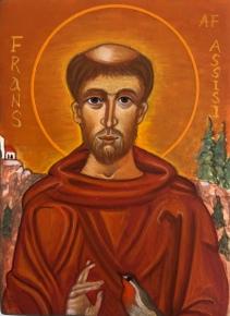 St. Frans af Assisi, (SOLGT)10 x 15 cm, ægtempera på lindetræ. (SOLGT)