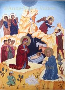 Kristi Fødsel (SOLGT) 32 x 40 cm, ægtempera på lindetræ.Ukendt forlæg