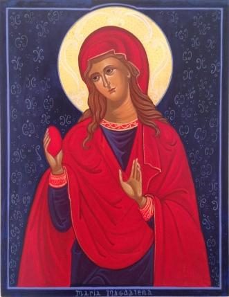 Maria Magdalena med det røde æg 25 x 32 cm. Ægtempera på Lindetræ